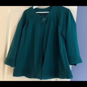 Anne Klein Teal Green Cardigan Sweater Plus 1x